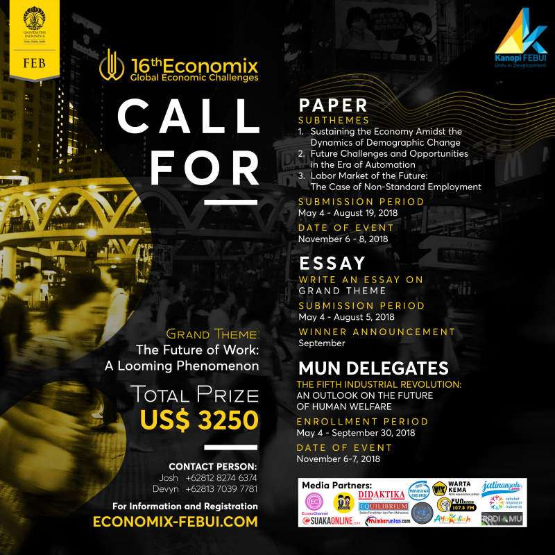 Kerjasama Kompetisi Id sebagai Media Partner di 16th Economix - Global Economic Challenges