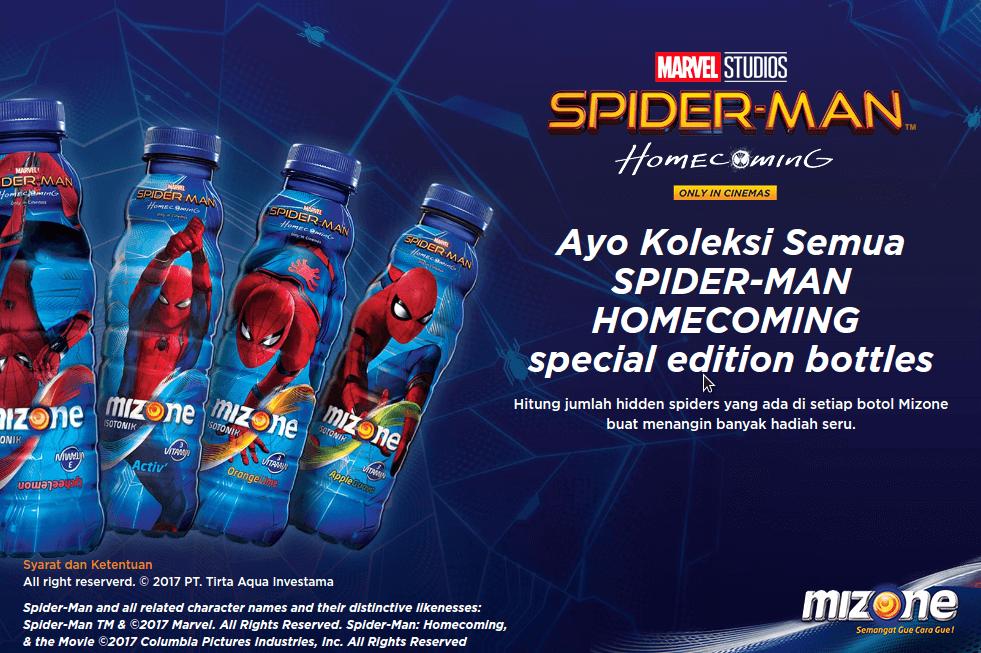 Ayo Koleksi Semua SPIDER-MAN HOMECOMING Special Edition Bottles dan Dapatkan Hadiah dari Mizone