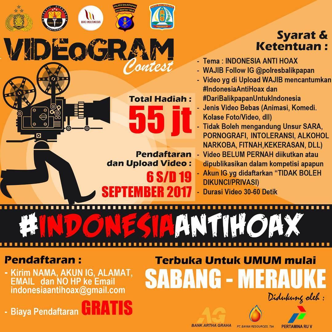 Videogram Contest #IndonesiaAntiHoax dari Polres Balikpapan
