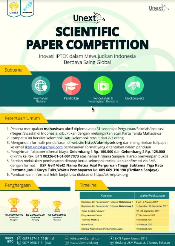 Unnes National Expo of Technology (UNEXT) Scientific Paper Competition