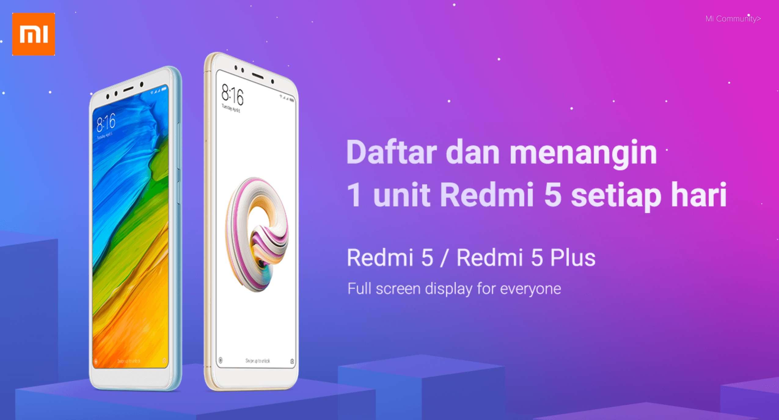 Gratis Xiaomi Redmi 5 Sampai 5 Hari