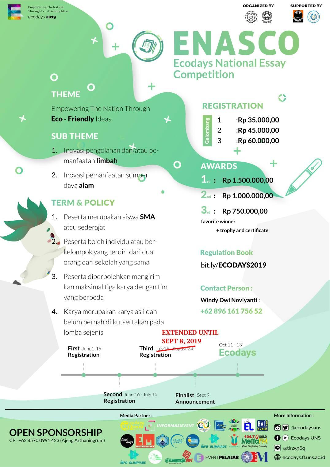 ENASCO Ecodays National Essay Competition 2019