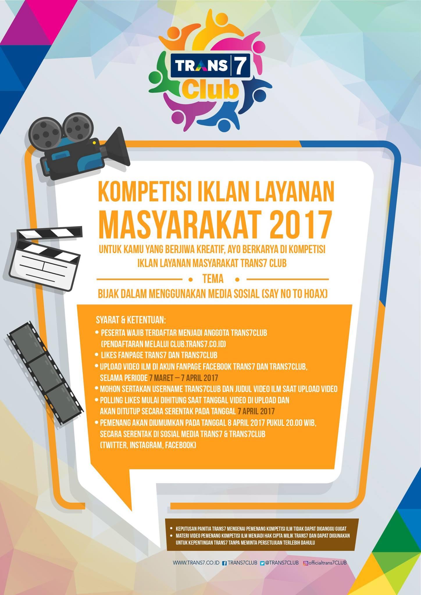 Kompetisi Iklan Layanan Masyarakat 2017 dari Trans7 Club