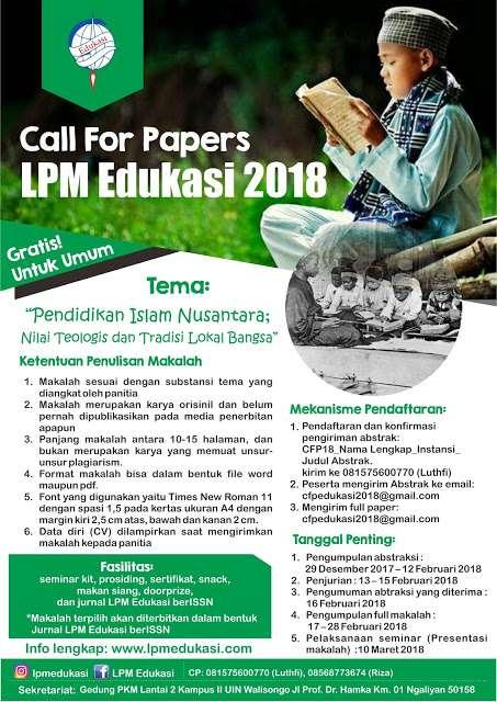 Call For Paper LPM Edukasi 2018